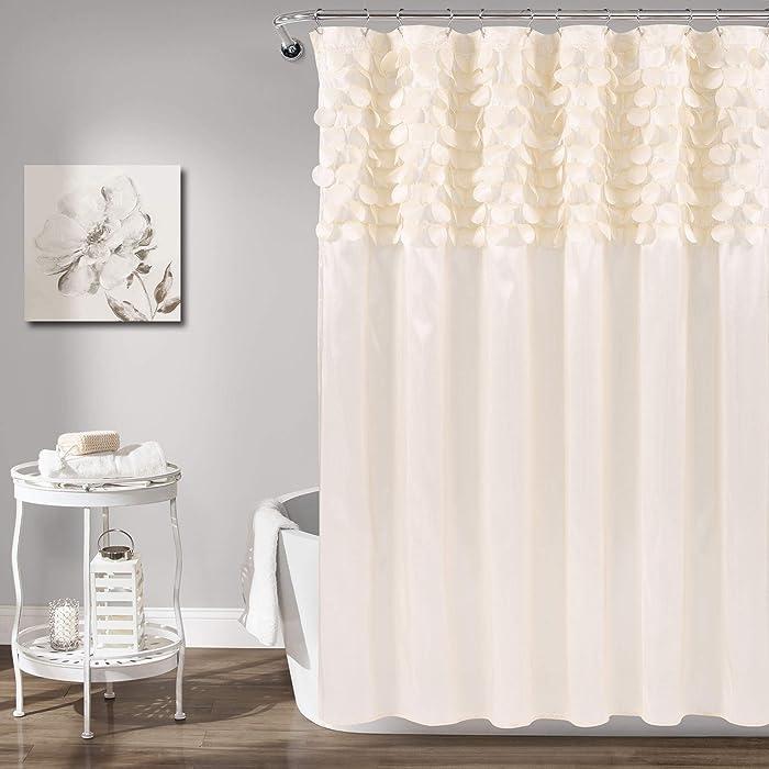 "Lush Decor Lillian Shower Curtain | Textured Shimmer Circle Design Bathroom, 72"" x 72"", Beige"
