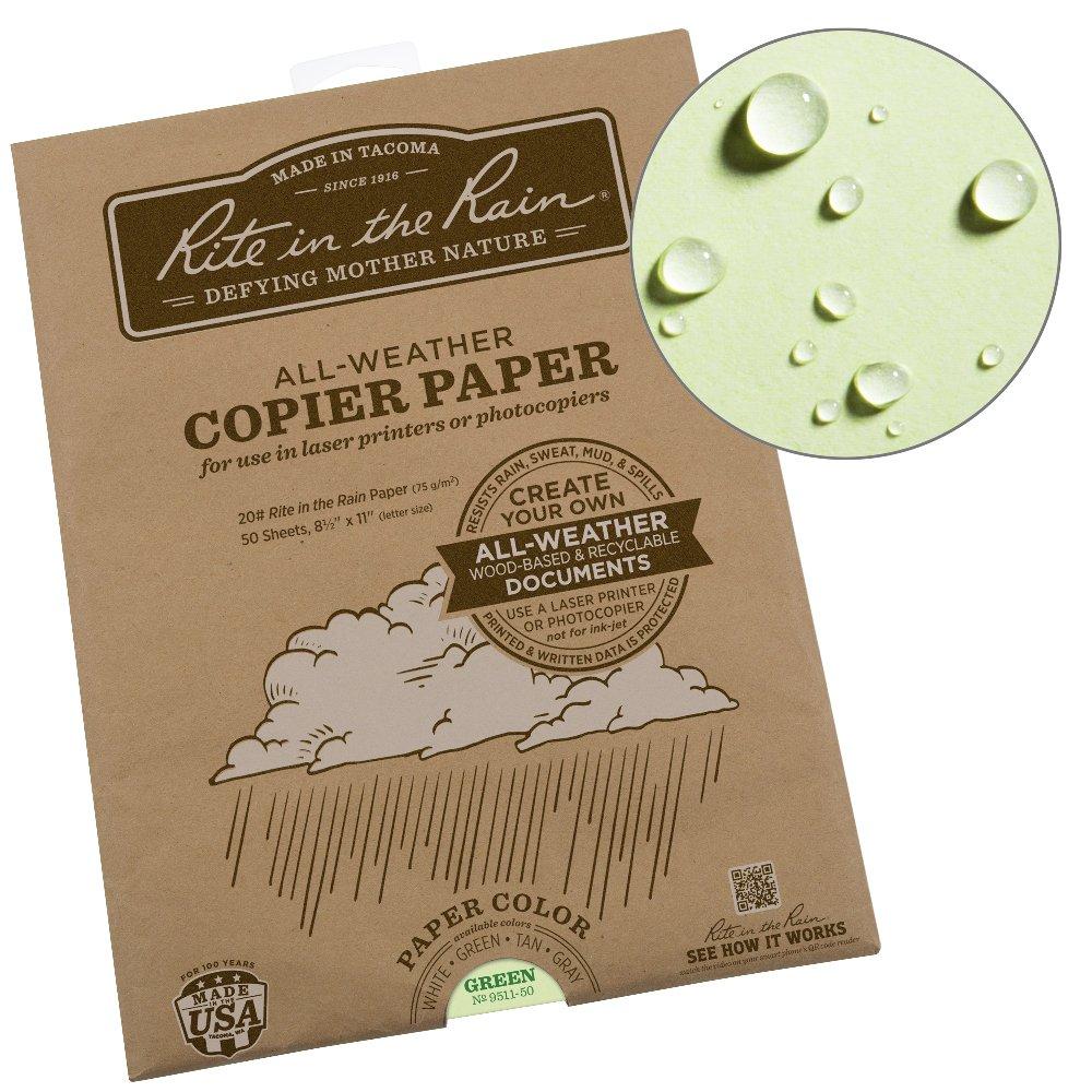 Rite in the Rain Weatherproof Laser Printer Paper No. 8511-50 20# White 50 Sheet Pack 8 1//2 x 11