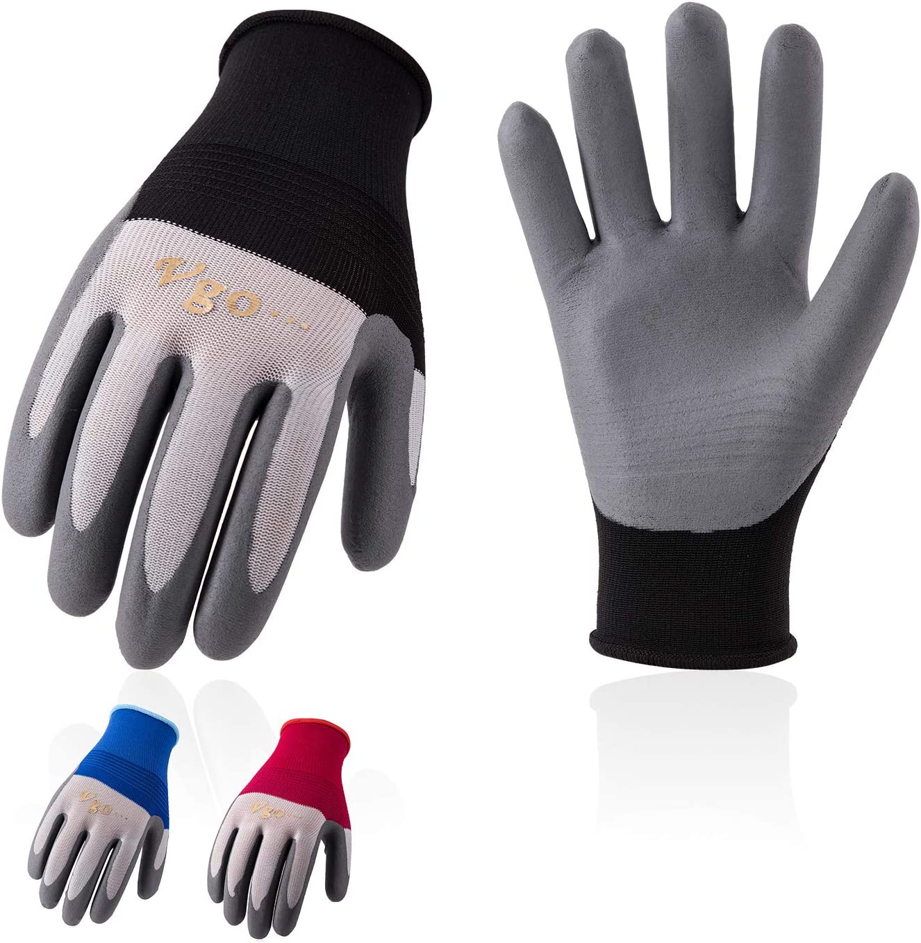 Vgo 10Pairs Nitrile Coated Nylon Kint Working Gloves for Garden Warehousing Driving (Size L, Black&Blue&Red, NT2144)