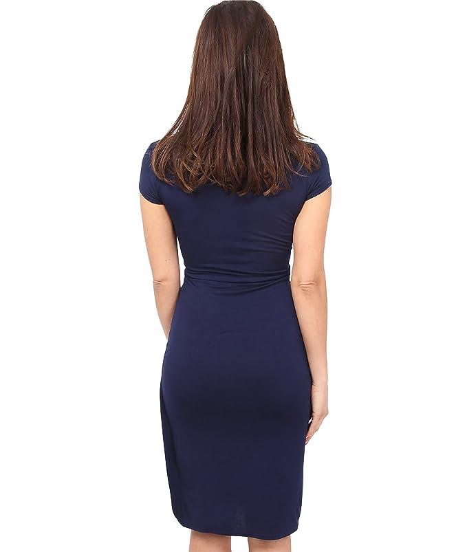 KRISP Vestido Mujer Corto Manga Corta Ajustado Punto Elegante Tallas Grandes: Amazon.es: Ropa y accesorios