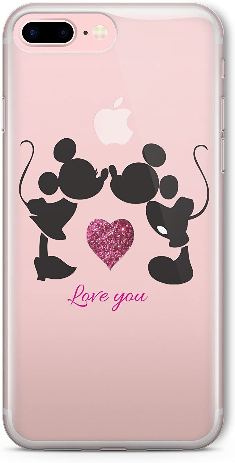 SmartGiftShop Cartoon Movie Character Fan Art Silhouette Clear TPU Phone Cover Case for iPhone iPhone 7 Plus/Minnie Mickey Mouse Kiss