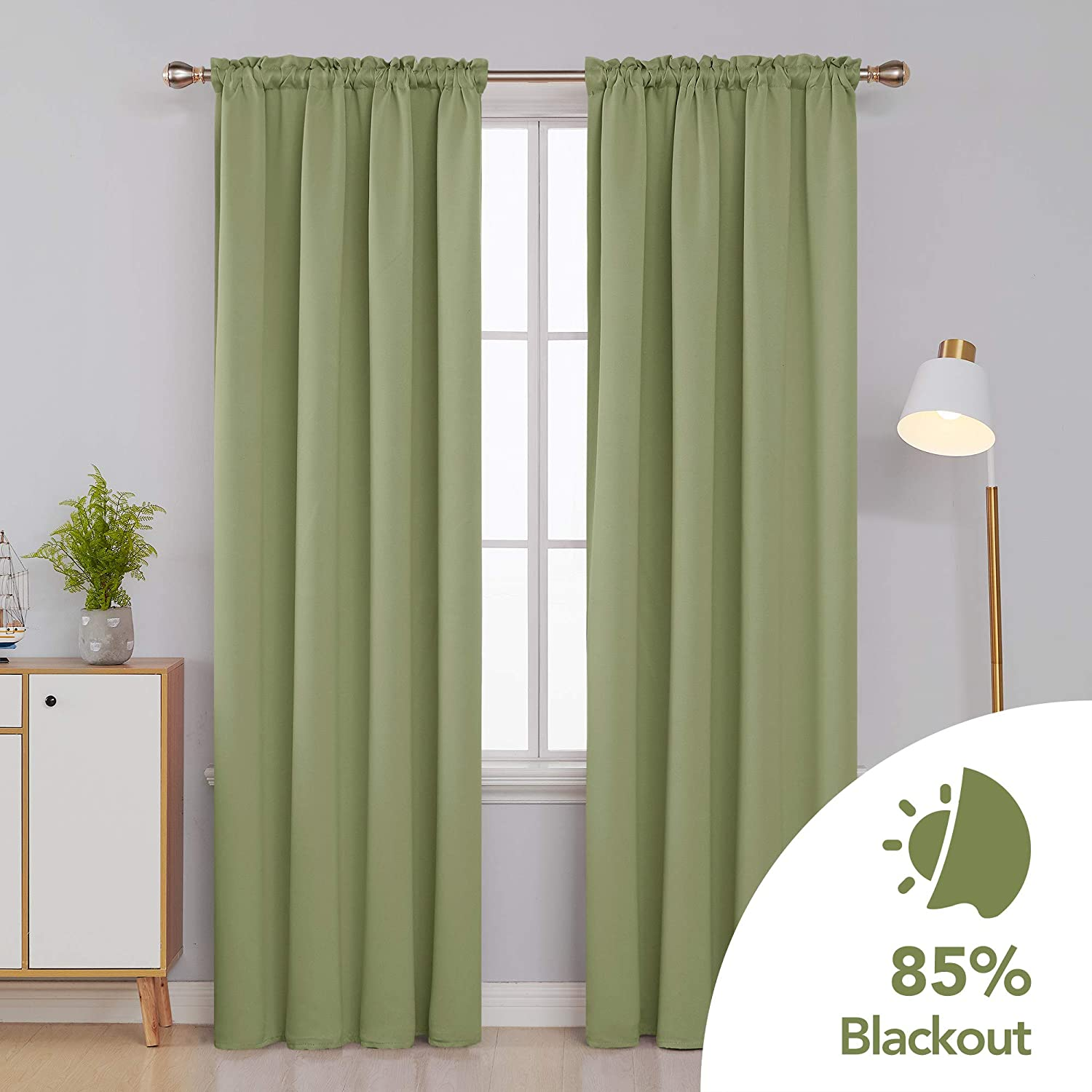 Deconovo Black Blackout Curtains Thermal Insulated Rod Pocket Curtain Panels for Bedroom 42 W x 63 L Black 1 Panel