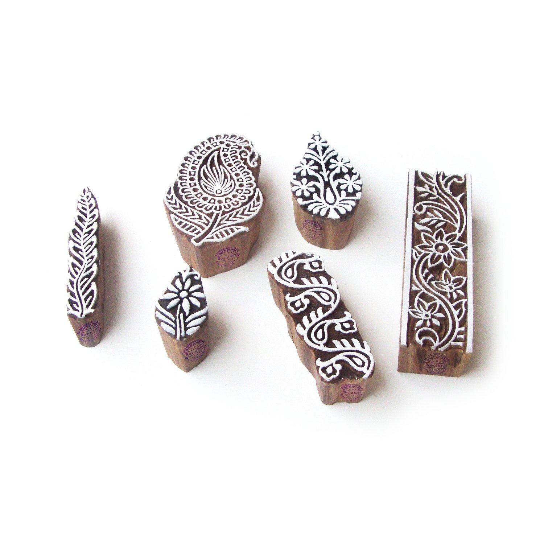 Paisley and Border Asian Motif Block Print Wood Stamps (Set of 6)