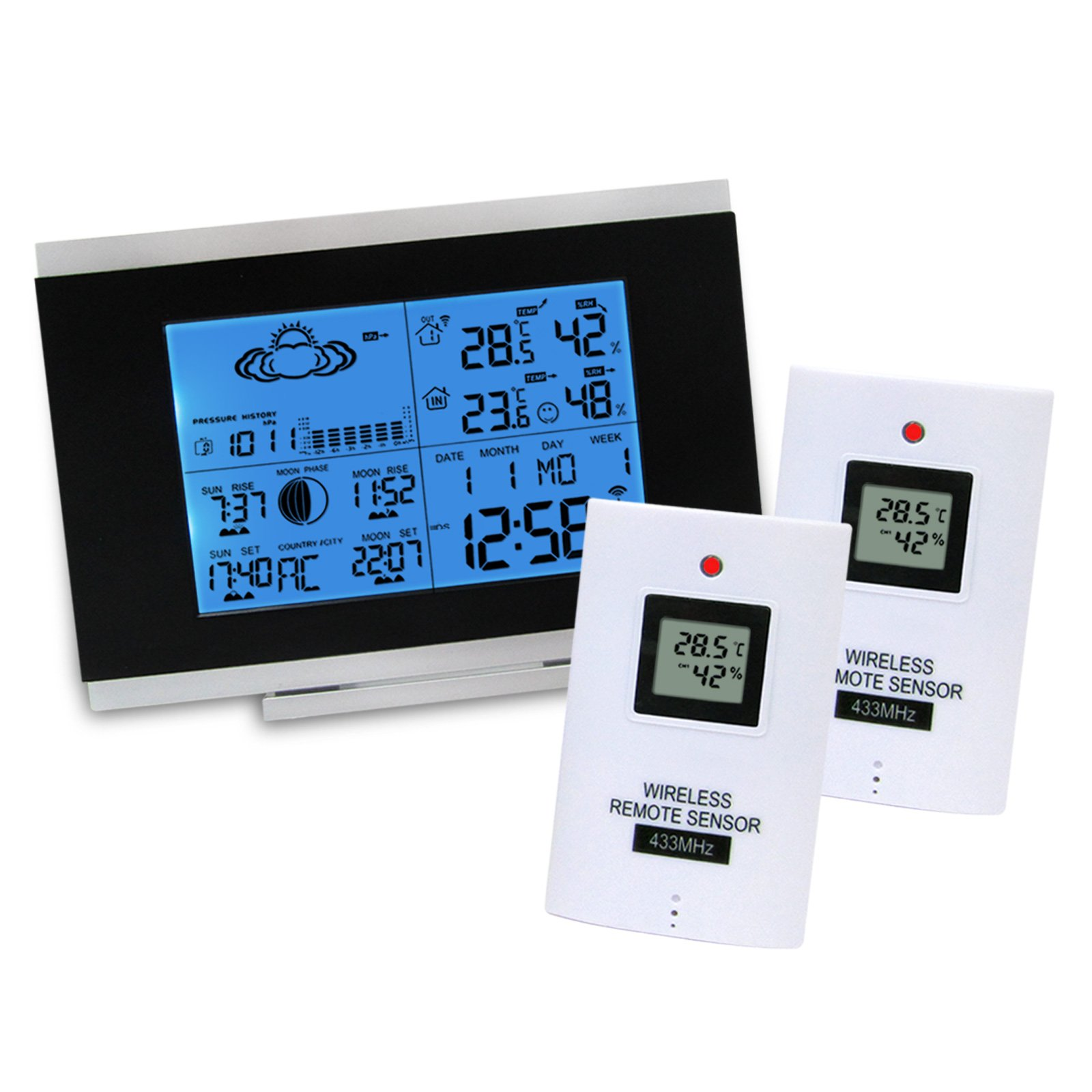 Wireless Weather Station + 2 Remote Sensor Weather Station Monitoring Clocks Temperature Outdoors-Indoors Humidity with Back-Light