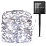 Yooda Solar Powered String Lights, 100 LED Copper Wire Lights, Fairy Lights, Indoor Outdoor Waterproof Solar Decoration Lights for Gardens, Home, Dancing, Party, Christmas (White)