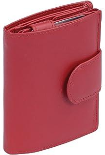 0daa8e0fced407 LEAS Damenbörse und Herrenbörse mit Außenriegel im Hochformat Echt-Leder,  rot Special-Edition