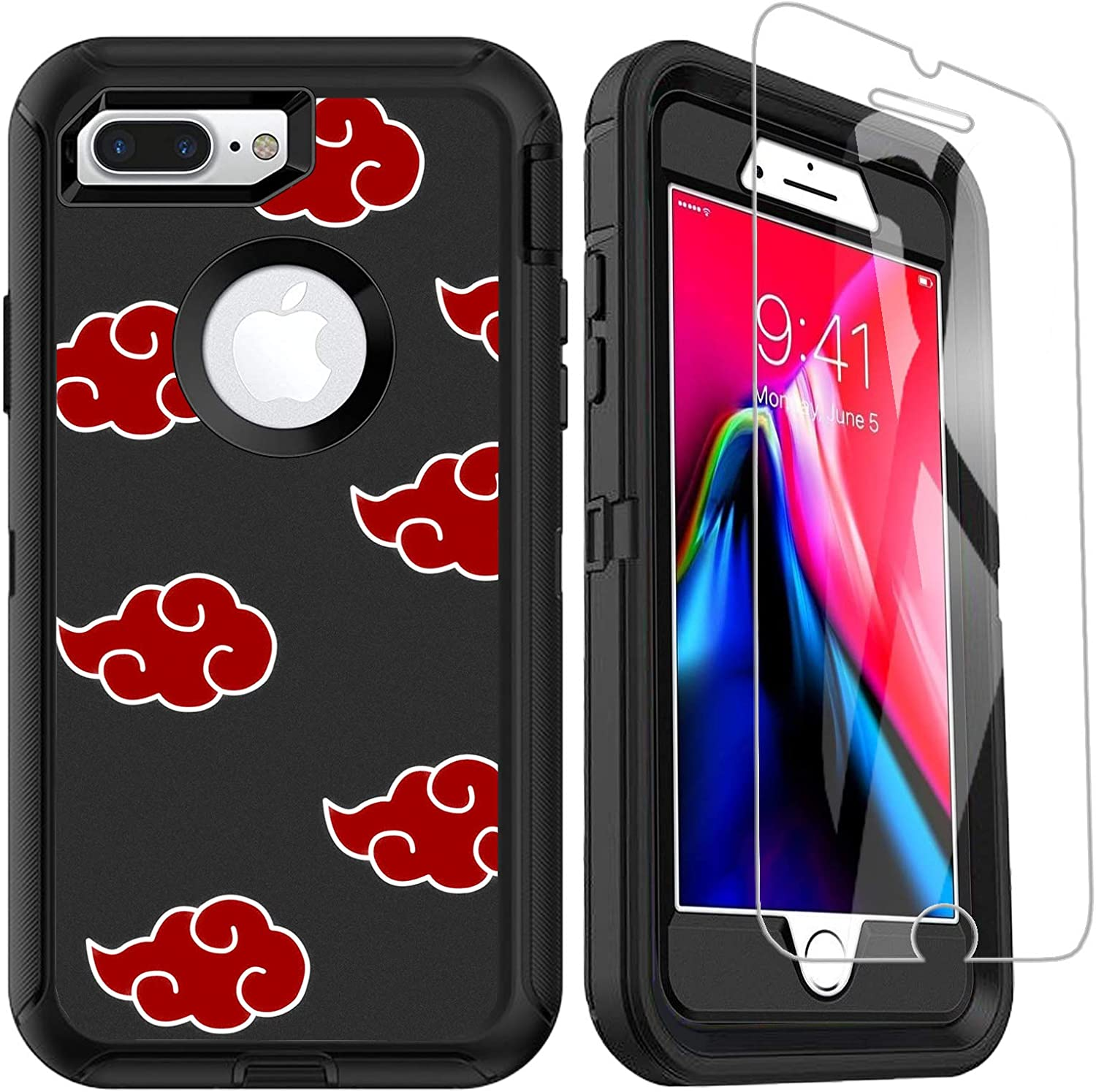 OTTARTAKS iPhone 7 Plus iPhone 8 Plus Case with Screen Protector, Anime iPhone 6/6S Plus Case for Boys Men, 3-in-1 Heavy Duty Full Body Shockproof Cover for iPhone 6s 7 8 Plus,Red Cloud
