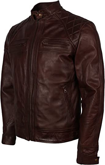 Dark Brown Waxed Vintage Brando Padded Style Genuine Leather Jacket