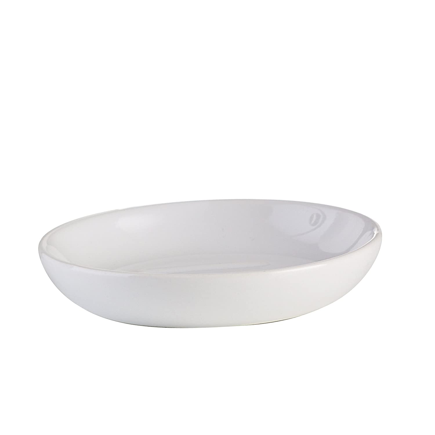 Axentia Soap Dish, Decorative Ceramic Bathroom Round Soap Dish/Soap Holder without Wall Mounted, Bathroom Accessories, approx. 10.5x 10.5x 2cm White 282411