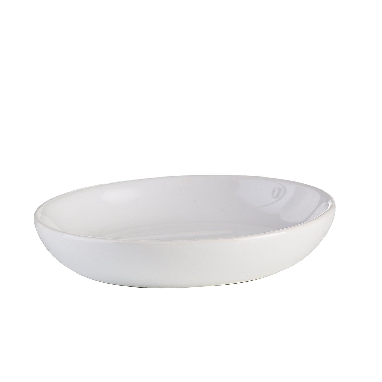 axentia Jabonera Leander, decorativa accesorios de baño, ovalada plana sin montaje en pared de jabón jabonera, baño accesorios de cerámica, aprox. 10,5x 10,5x 2cm, color blanco 282411
