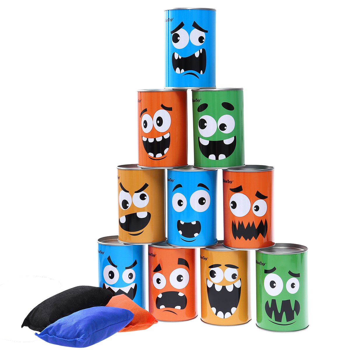 iBaseToy Carnival Games Bean Bag Toss Game for Kids & Adults - Carnival Party Supplies Easter Games Tin Can Alley Game for Kids Birthday Party Games- 10 Tin Cans and 3 Beanbags Included by iBaseToy