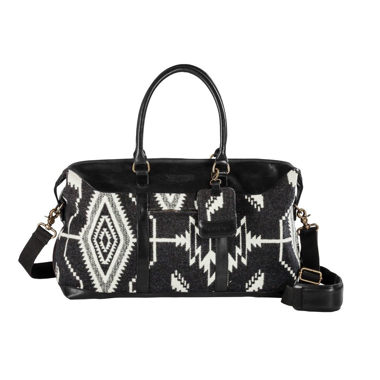 Geometric Tribal Ikat Theme Rolling Softside Foldable Duffel Case, Graphic Modern Diamonds Stripes Triad Motif, Multi Compartment, Fashionable, Checkpoint Friendly Soft Travel Bag, Dark Grey, Size 19''