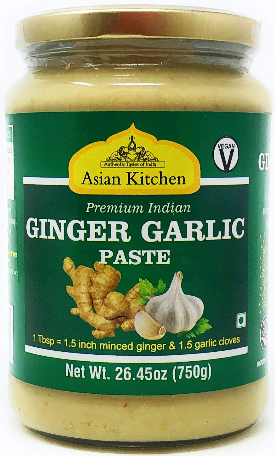 Amazon Com Asian Kitchen Ginger Garlic Cooking Paste 26 5oz 750g Vegan Glass Jar Gluten Free Non Gmo No Colors Indian Origin Grocery Gourmet Food