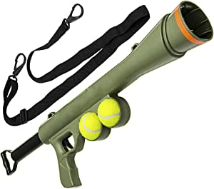 M.E.R.A. Toy for Dog, Tennis Ball Toy Launcher for Pet Training Throw Fetch Play Outdoor, Outdoor Toy for Dog, 2 Squeaky Balls, Color Green
