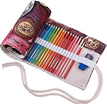 Abaría - Bolso para lápices, grande estuche enrollable para 72 lapices colores, portalápices de lona, bolsa organizador lápices para infantil adulto, moneda 72: Amazon.es: Electrónica