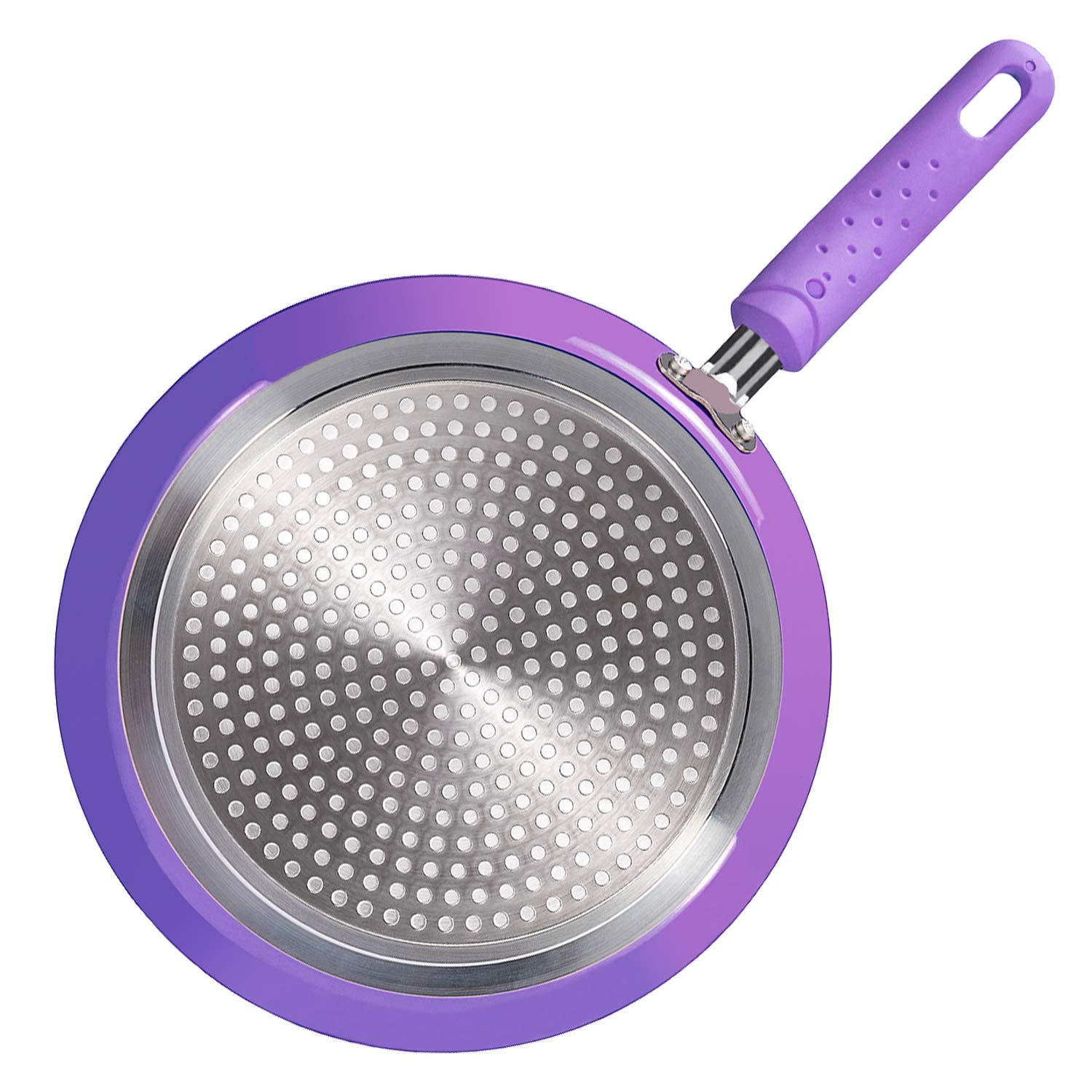 ROCKURWOK Nonstick Fry Pan Crepe Pan, Pancake Omelette Saute Skillet Griddle, Stainless Steel, 9.5-Inch, Purple