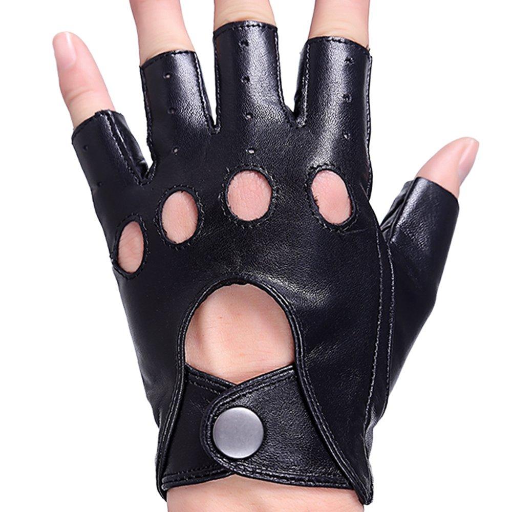Popuglove Lambskin Fingerless Half Finger Driving Unlined Leather Gloves Black