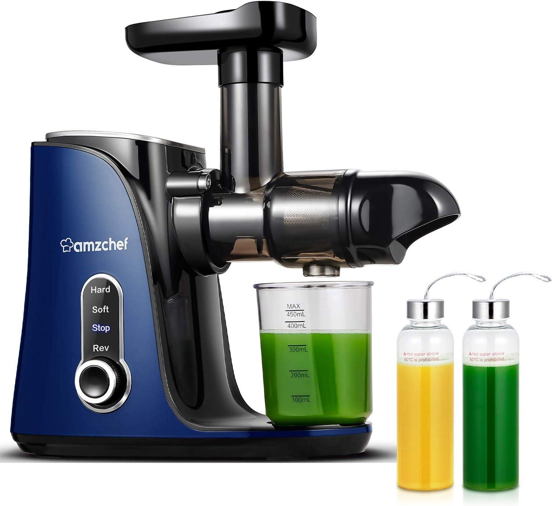 Licuadora prensada en frío, AMZCHEF licuadora de frutas y verduras, Extractor de zumos con 2 velocidades, panel de pantalla LED, 2 botellas de agua(500ML), cepillo fácil de limpiar (azul)