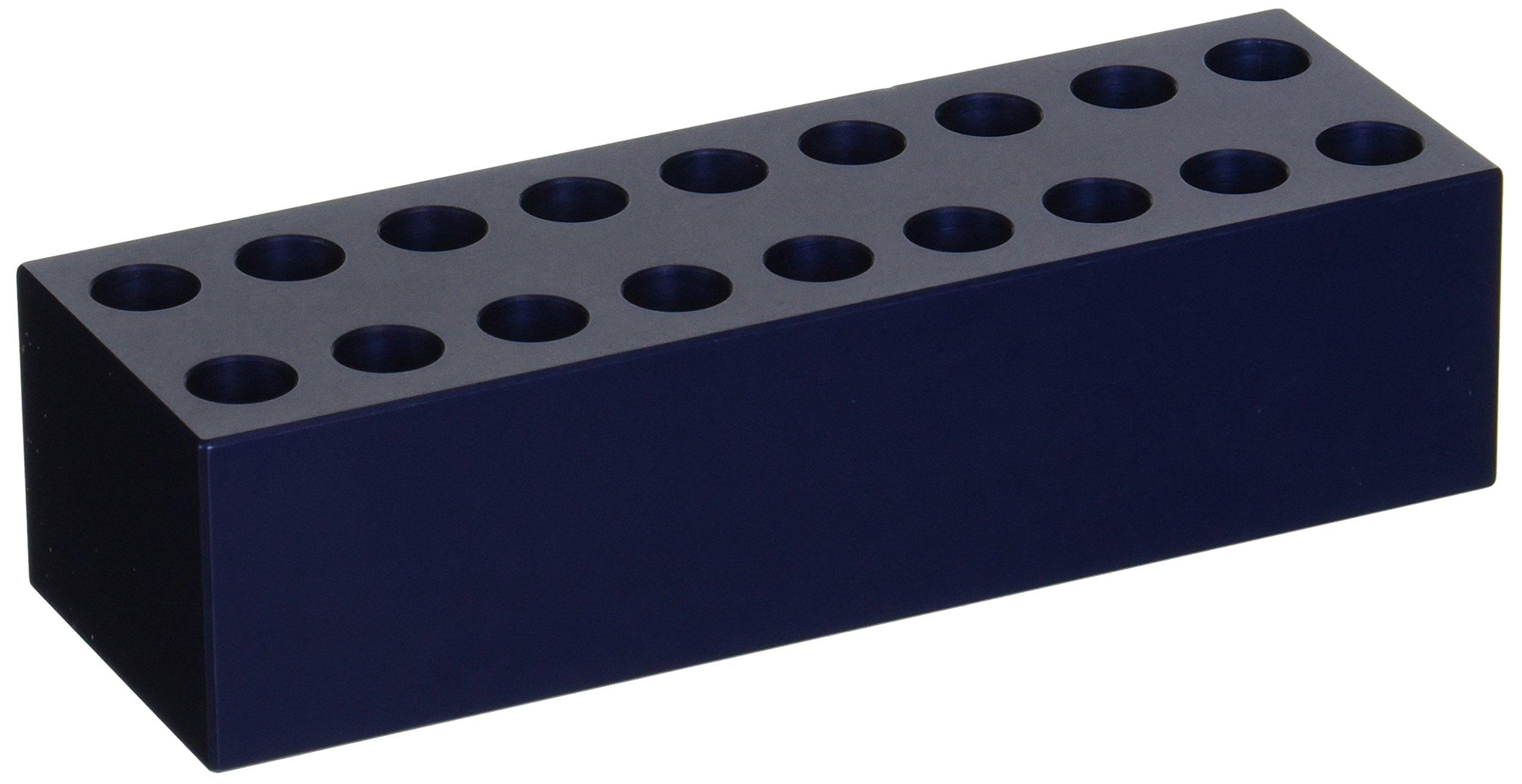 Labconco 4026402 Aluminum Tube Rack, Holds 1.5ml x 18 Microcentrifuge Tubes, 10.5mm Tube Diameter, 2'' W x 6'' D x 1.5'' H