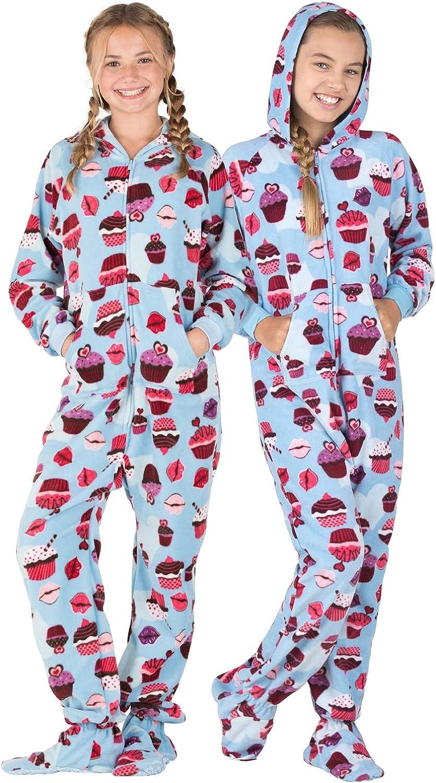 Footed Pajamas Blue Cupcakes Kids Fleece Onesie