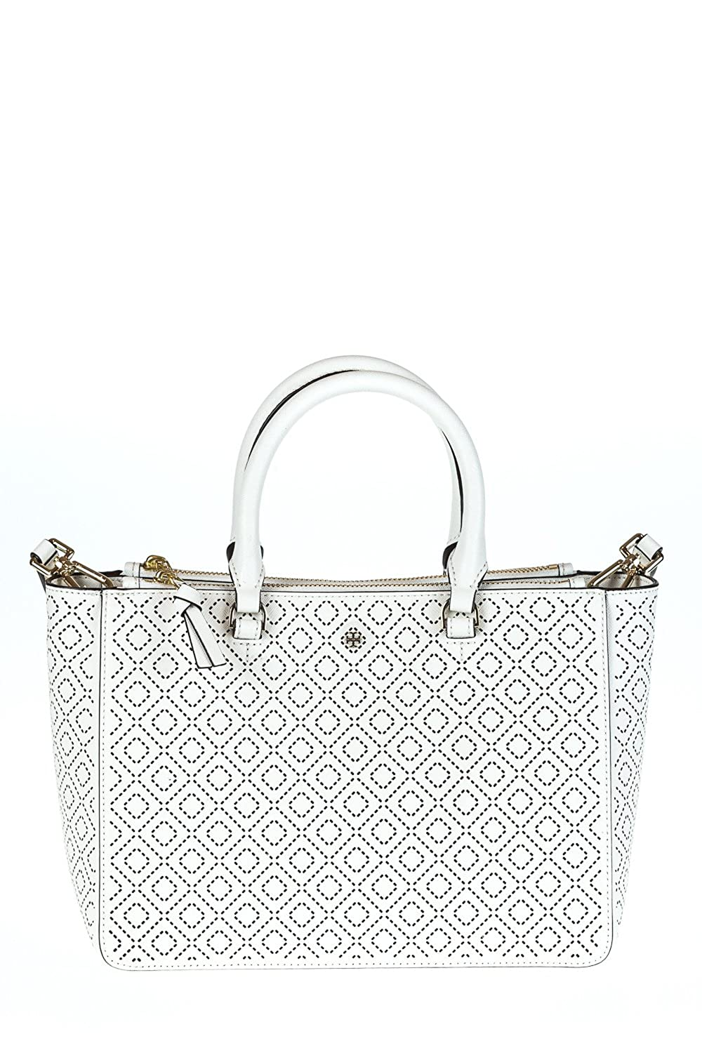 Tory Burch Small Robinson Perforated Toteハンドバッグ新しいアイボリーバッグ B01970HTUM