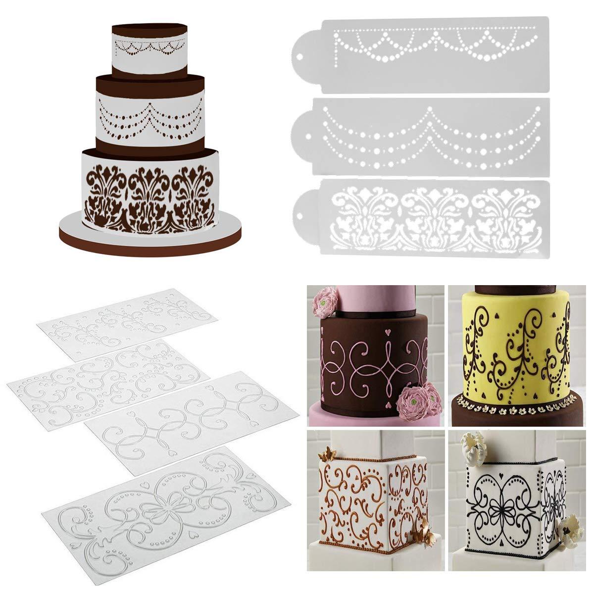 Wedding Cake Stencil Template, BENBO 7Pcs Cake Decorating Embossing Plastic Spray Floral Cake Cookie Fondant Side Baking Mesh Stencil Wedding Decor Tool