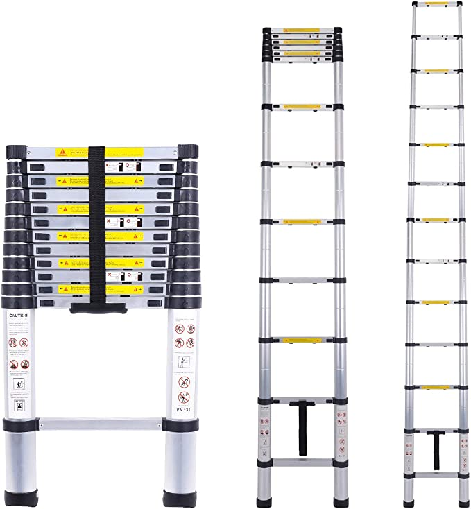 Escalera telescópica multiusos de aluminio portátil Escalera plegable y extensible EN131 y normas CE(3.8M): Amazon.es: Bricolaje y herramientas