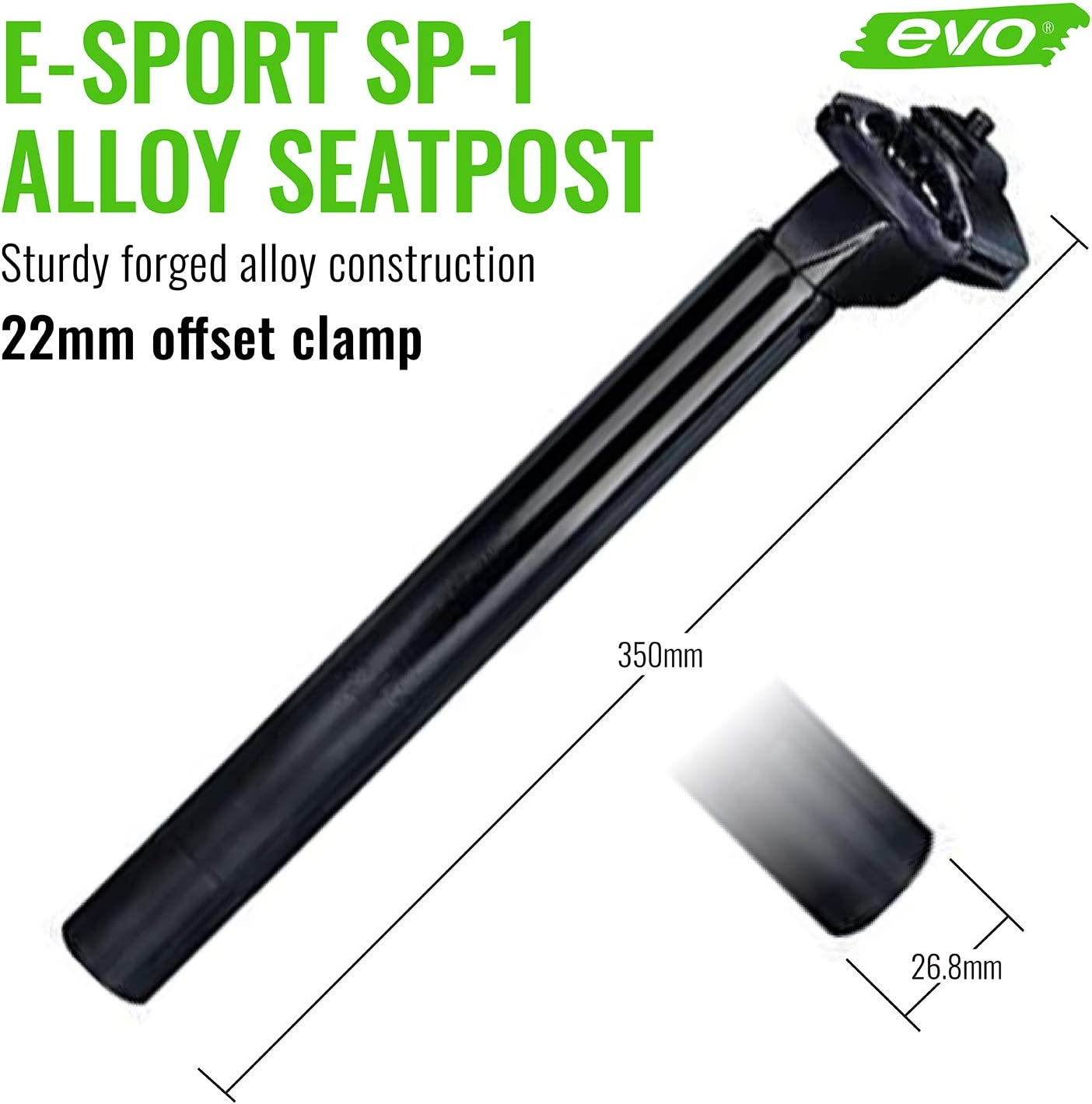 Black evo Seatpost E-Sport SP-1 26.8 X 350mm