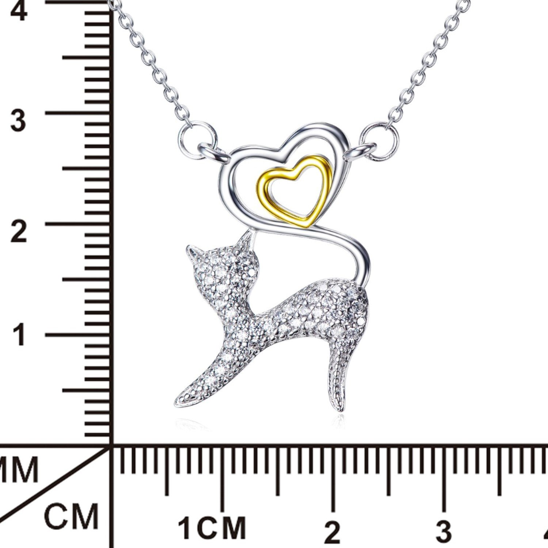 CS-DB Pendants Necklaces Silver Vintage Love Heart Cat Jewelry Girls Rhinestone Crystal