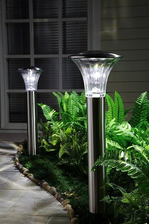 Grand Patio Trumpet Shaped Column Lights Solar Garden Path Lamp