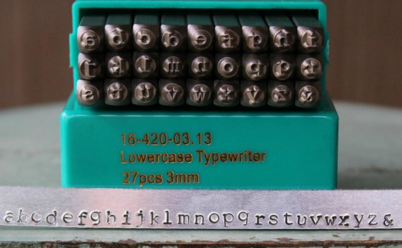 Lowercase Numbers Set 3mm-Plus 14 Bonus Stamps-Metal Stamp Set-Metal Supply Chick Typewriter Font Combo ImpressArt Uppercase