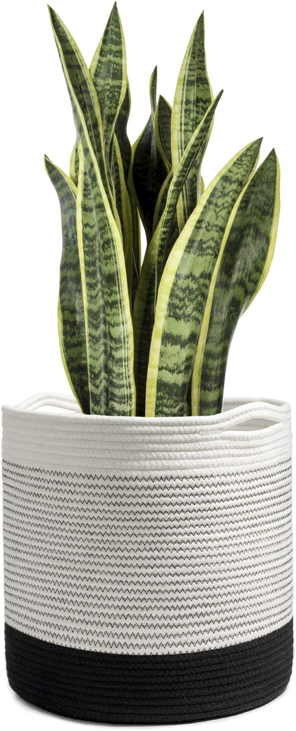 "TIMEYARD Woven Cotton Rope Plant Basket for 10in to 12in Flower Pot Floor Indoor Planters, 13.5"" x 13.5"" Storage Basket Organizer Modern Home Decor"
