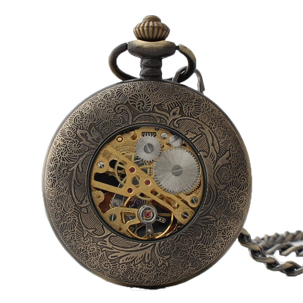 Zxcvlina Classic Smooth Creative Flower Carved Retro Pocket Watch Green Watchcase Bronze Mechanical Pocket Watch with Chain Women's Gift Suitable for Gift Giving by Zxcvlina (Image #5)