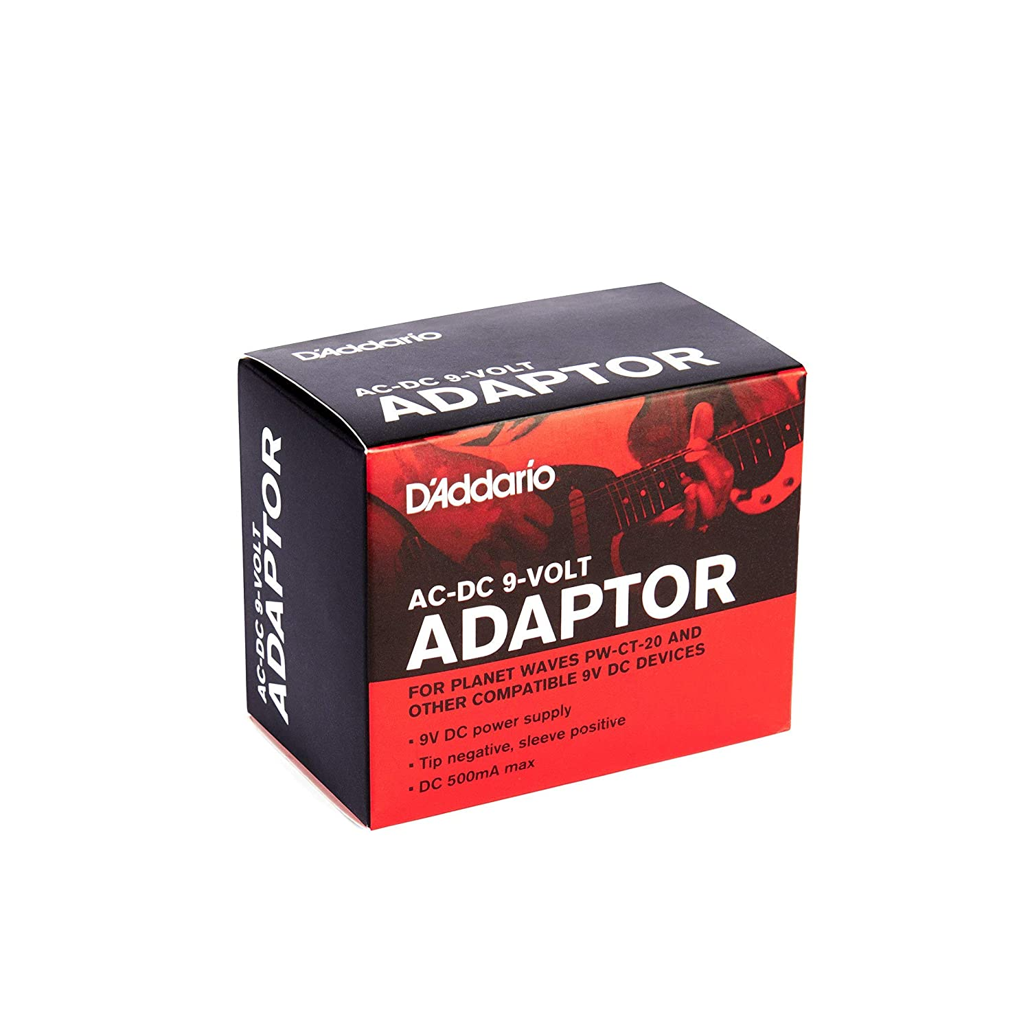Tip-Negative Renewed Minimize Need to Change Batteries on Pedalboard and Devices Requiring 9V Sleeve-Positive Power Supply DAddario Accessories PW-CT-9V DC Power Adapter 500mA Max Current