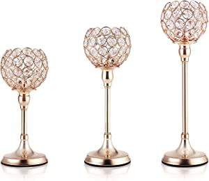 DUOBEIER Home Decor Gold Crystal Candle Holders,Votive Candlestick Holders for Wedding Table Centerpiece Housewarming Dining Room Coffee Table Decorative,Set of 3