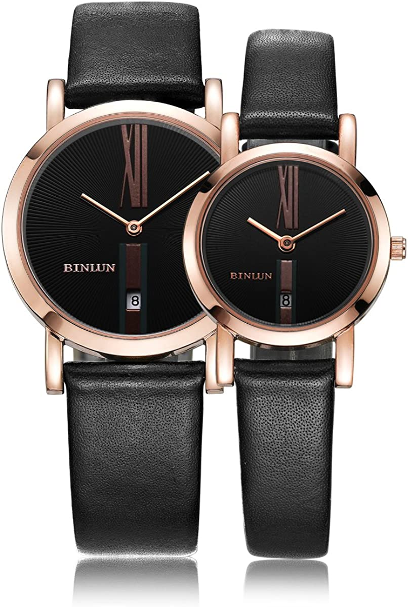 BINLUN Rose Gold Sliver His and Hers Gifts Couple Watches Waterproof Leather Bands Watch Set with Date