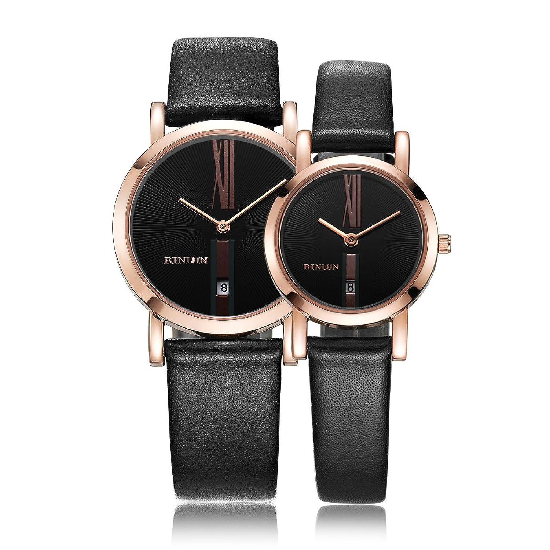 Binlun Paar Uhren Rose Gold Silber Armbanduhr Herren Damen mit Schwarz Kalbsleder Leder