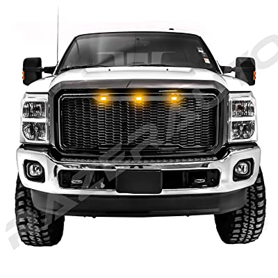 Razer Raptor Style 2011-2016 Ford Super Duty F250+F350+F450 Gloss Black Mesh Grille Shell w/Amber 3x LED, Complete Factory Replacement Grille Shell
