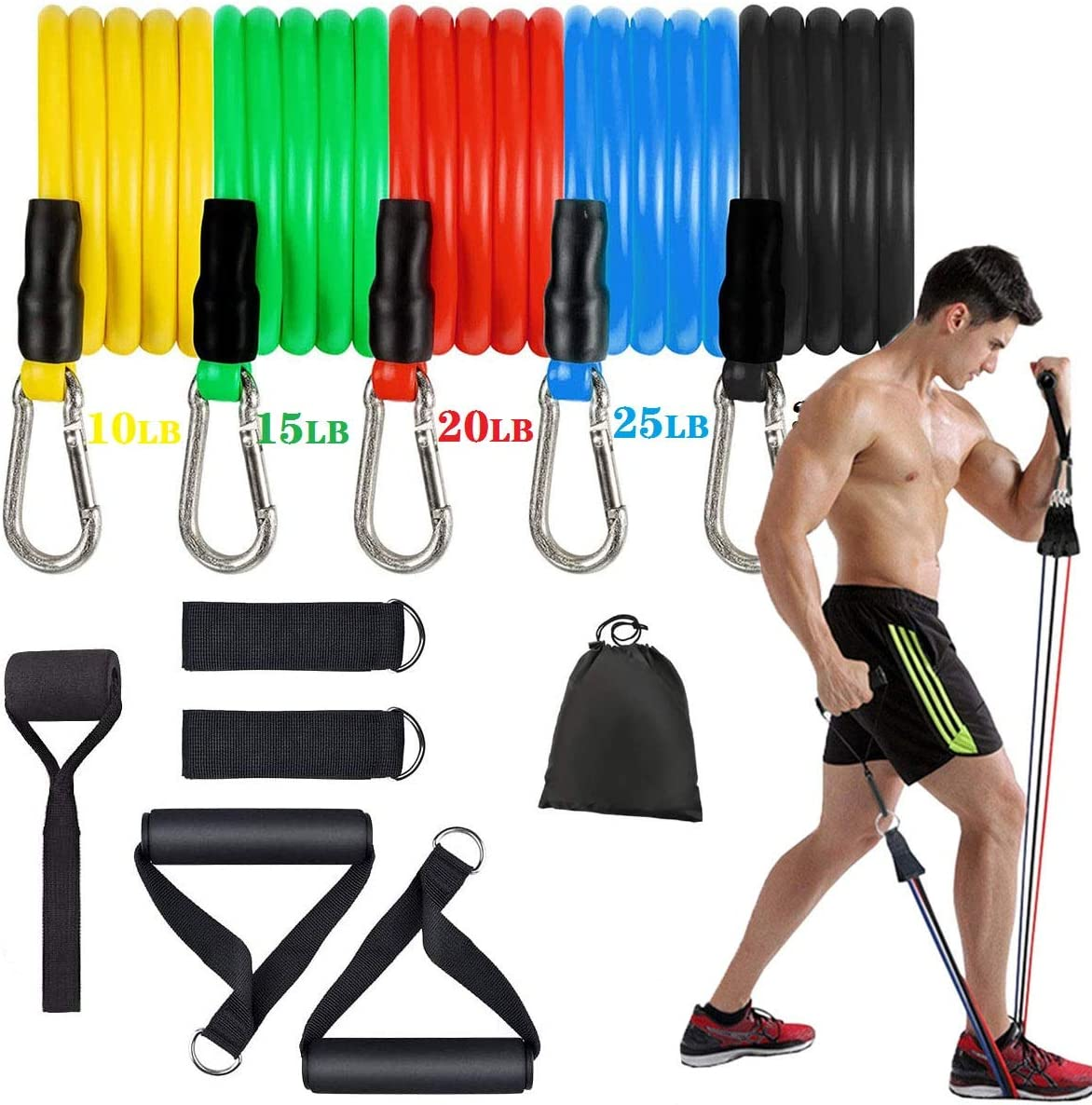 SOARRUCY Workout Bands Home Gym Equipment 11pcs Exercise Bands for Strength Training for Men Women Resistance Bands for Fitness with Handles Yoga Training