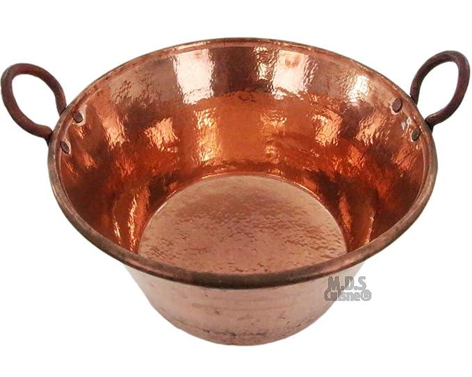 M.D.S Cuisine Cookwares Cazo de Cobre para Carnitas Grande, 24 Pulgadas, Calibre Resistente, Cobre, 100% Fabricado en México: Amazon.es: Jardín