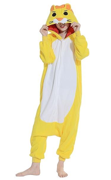 Fandecie Pijama León Amarillo, Onesie Modelo Animales para adulto entre 1,60 y 1