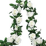 AGEOMET 3pcs 19.5ft Artificial Rose Vine Fake Silk Rose Hanging Vine Flowers Garland for Outdoor Wedding Arch Garden…