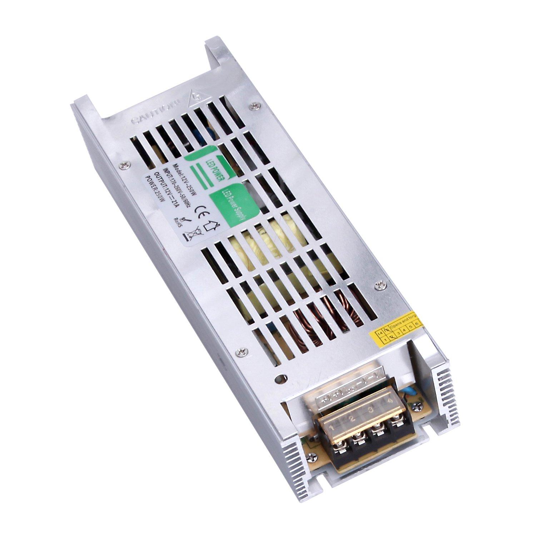 Liqoo 250W DC 12V 21A LED Transformer Power Supply Driver Adapter for LED Strip [Energy Class A+] 939130020