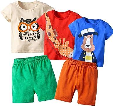 2 Pcs 1-8 Yrs Kids Boys Toddler T-shirt Shorts Set Shirt Tops Short Pants Outfit