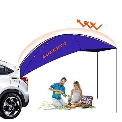 meet e46f5 fc418 AUPERTO Auto Canopy Camper Trailer Tent - 3-4 Person Sun Shelter Portable  and Foldable Camping Tent, Waterproof, Anti-UV for Outdoor, Beach, SUV,  MPV, ...