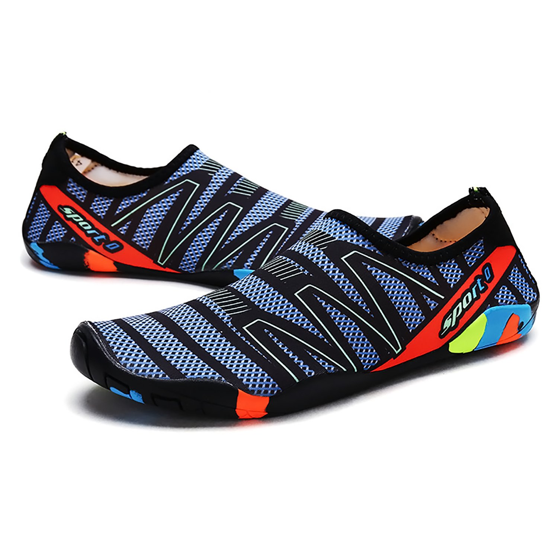 EMMMMMM Mens Womens Unisex Kids Summer Water Shoes Barefoot Shoe Quick Dry Aqua Socks Run Dive Surf Swim Beach Yoga B07CWBGX8M 11 D(M) US|Grid Blue