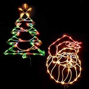 """16"""" Christmas Window Silhouette Lights Decorations, Pack of 2 Lighted Santa Claus and Xmas Trees Window Silhouette with 100 Bulbs for Holiday Indoor Wall Door Glass Decorations, Multicolor"""
