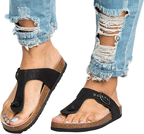 New Women/'s Slide Sandals Flats with Stylish Buckle Design
