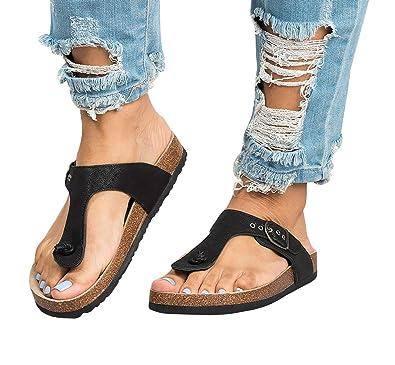 05c54d25de0 Amazon.com | Womens Thong Sandals T Strap Slip-On Buckle Flip-Flop Beach  Cork Flat Sandals | Flip-Flops