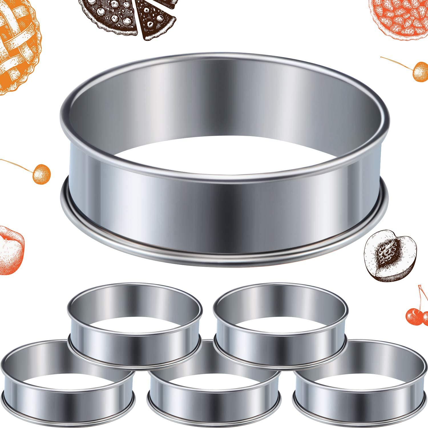 6 Pieces Muffin Tart Rings Double Rolled Tart Ring Stainless Steel Muffin Rings Metal Round Ring Mold for Home Food Making Tool, 3.15 Inch